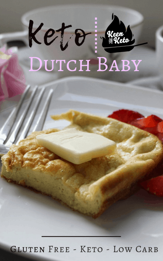 German pancake, oven pancake, Dutch baby, puffed pancake, puffed oven pancake, Bismarck, and my family's favorite, the hootenanny pancake—whatever you call yours, this is the perfect keto version of keto oven pancakes! Topped with a sliced strawberry, this is a great anytime breakfast or save it for a special occasion like Christmas. | keto breakfast | low carb breakfast | low carb german pancake | flourless german pancake