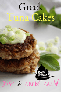 Two Greek Tuna Cakes stacked on plate