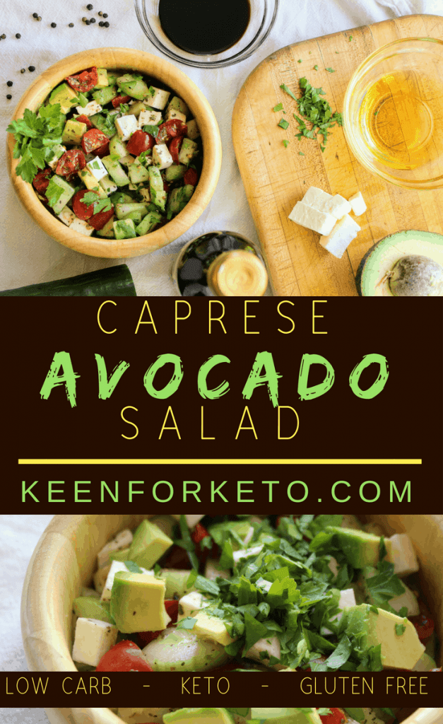 Keto Caprese Avocado Salad from Keen for Keto. #ketosalad #ketodiet