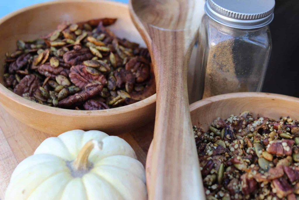 This healthy low carb pumpkin spice trail mix and granola is the perfect breakfast or snack for hiking, home, school, or work! #keto #keenforketo #ketogenic #hiking #trailmix #granola #healthybreakfast