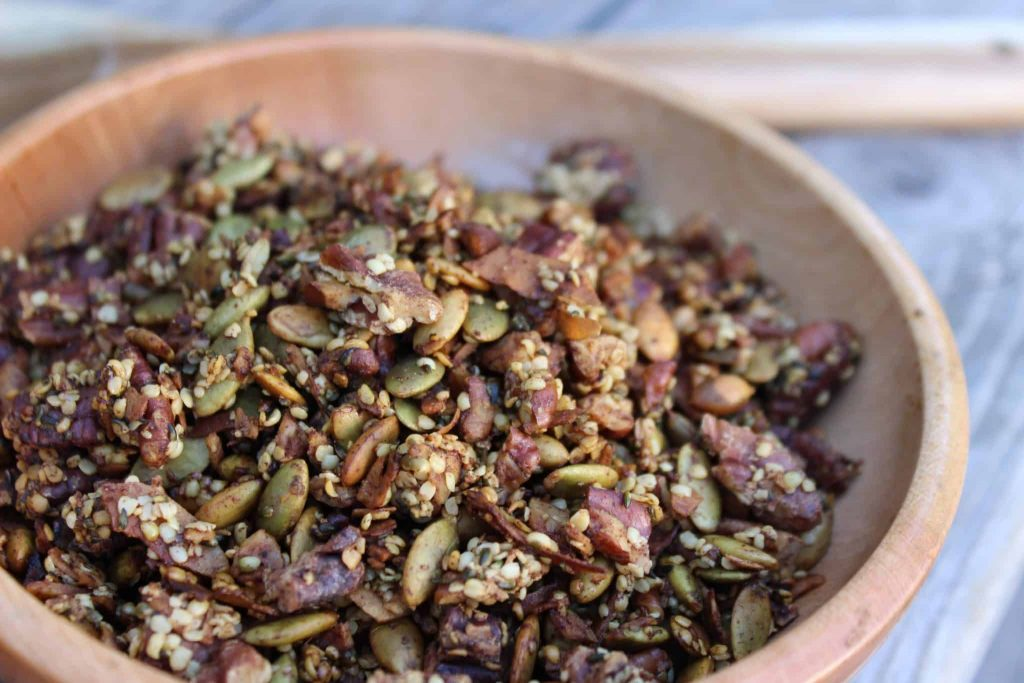 This healthy pumpkin spice trail mix and granola is the perfect breakfast or snack for hiking, home, school, or work! #keto #keenforketo #ketogenic #hiking #trailmix #granola #healthybreakfast