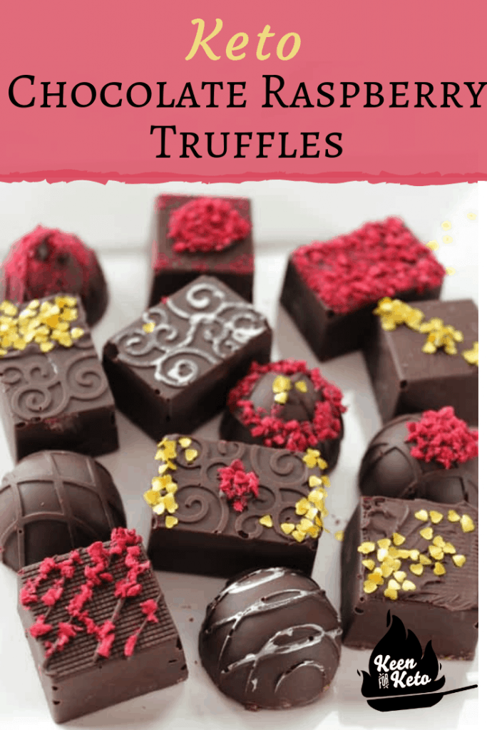 Keto Chocolate Raspberry Truffles are what you're looking for this Valentine's Day for your keto dieter! You're going to want to skip the drug store sugar free chocolates this year with all their sugar alcohols. Try these easy truffles instead! You'll surprise yourself and impress your partner. #ketovalentine #ketodessert #ketocandy #ketotruffles #ketotrufflerecipe #dessert #valentinesday #lowcarbdessert
