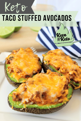 Ketogenic Super Taco Stuffed Avocados are yet another way you can use Keto Super Taco Meat. Awesome! Make dinner quick and easy. #quick #easy #stuffedavocados #bakedavocados #avocados #tacos #keto #ketotacos #keenforketo #keenforketofood