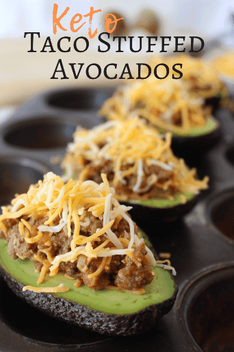 Keto Super Taco Stuffed Avocados are yet another way you can use Keto Super Taco Meat. Awesome! Make dinner quick and easy. #quick #easy #stuffedavocados #bakedavocados #avocados #tacos #keto #ketotacos #keenforketo #keenforketofood