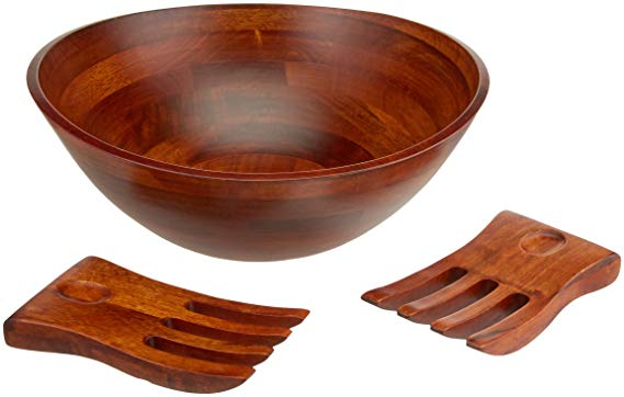 "Lipper International 294-3 Cherry Finished Wavy Rim Serving Bowl with 2 Salad Hands, Large, 13"" x 12.5"" x 5"", 3-Piece Set"