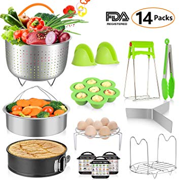 MIBOTE 14 Pieces Instant Pot Accessories Set Fits 5,6,8 Qt - Steamer Baskets, Springform Pan, Egg Steamer Rack, Egg Bites Mold, Dish Plate Clip, Kitchen Tong, Oven Mitts, Magnetic Cheat Sheets & More