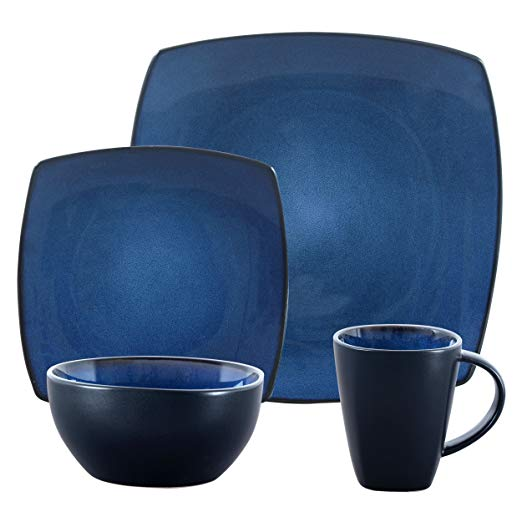 Gibson Elite 98770.16RM Bella Soho 16-Piece Square Reactive Glaze Dinnerware Set Service of 4, Stoneware, Blue