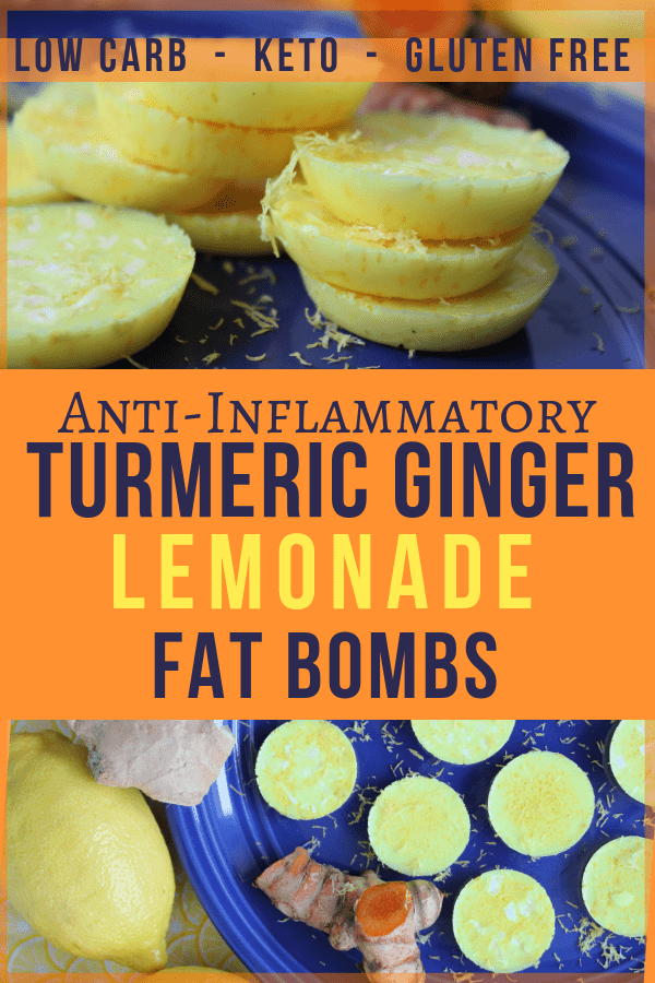 These tasty, zingy lemonade fat bombs will help you fill your healthy fat quota on the ketogenic diet, while also reducing inflammation, increasing electrolytes, and serving as a coldbuster with its turmeric and ginger. #fatbombs #coldbuster #ketogenicfatbombs #lemonade #lemonfatbombs #antiinflammatory #AIP #ginger #turmeric
