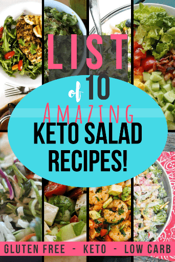 Save this pin now!! These are amazing keto salad recipes from keto and low carb bloggers from around the web. Get ready for fresh bliss! #ketosalad #ketosaladrecipes #lowcarbsalad #salad #glutenfree #lchf