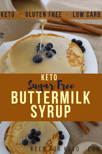 Add this keto buttermilk syrup recipe to your repertoire! You won't regret it when you taste the salty-sweet liquid drizzled on your favorite keto pancakes or waffles. Try it on our German Pancake!  #ketosyrup #buttermilksyrup #ketobreakfast #goldrensyrup #ketopancakes #germanpancake #lowcarbsyrup #goldensyrup #pancakesyrup #sugarfreesyrup