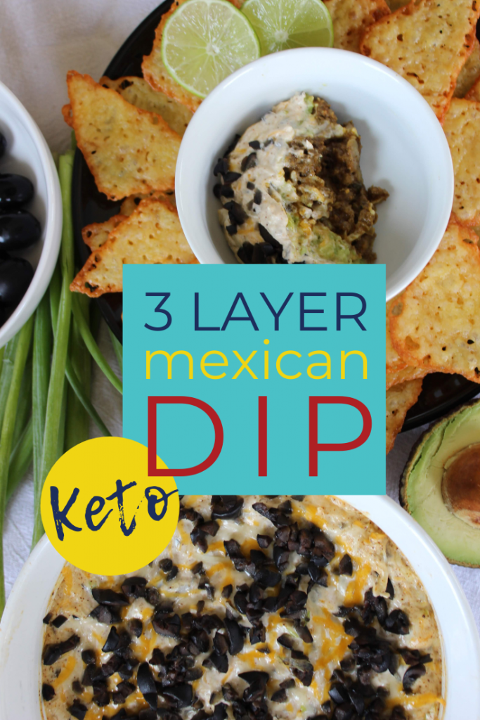 Three amazing layers in this keto layered mexican dip! If you're looking for a keto taco dip appetizer, look no further! Your family will love this 3 Layer Mexican Dip! #lowcarbdip #3layerketomexicandip