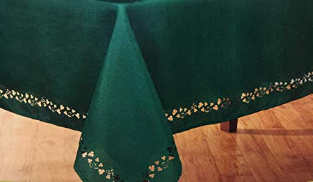 "Nantucket Home St Patricks Day Swirling Shamrocks Cutwork Tablecloth - (60""x102"")"