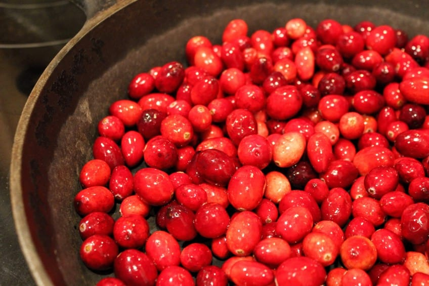 cranberries in pan