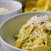 Keto Spaghetti Squash Alfredo with Chicken