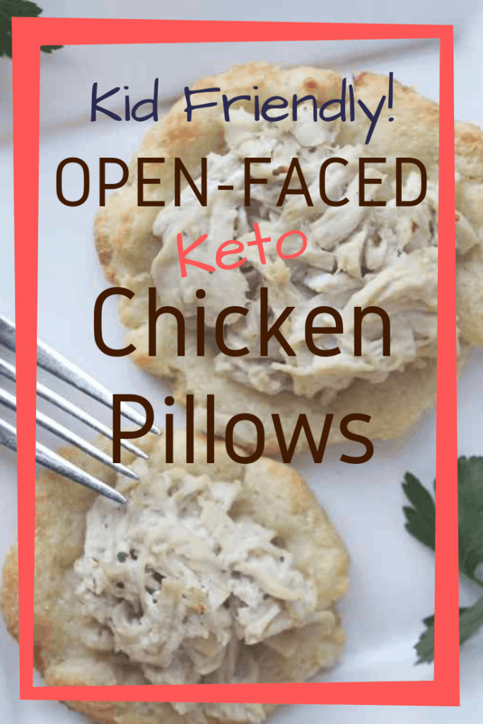 Keto Chicken pillows are fathead dough, formed into individual disks with a scoop of creamy chicken salad on top. Baked until golden, these low carb chicken pillows are easy and kid-approved! Keenforketo.com | keto dinner | keto chicken packets | kid friendly keto recipes