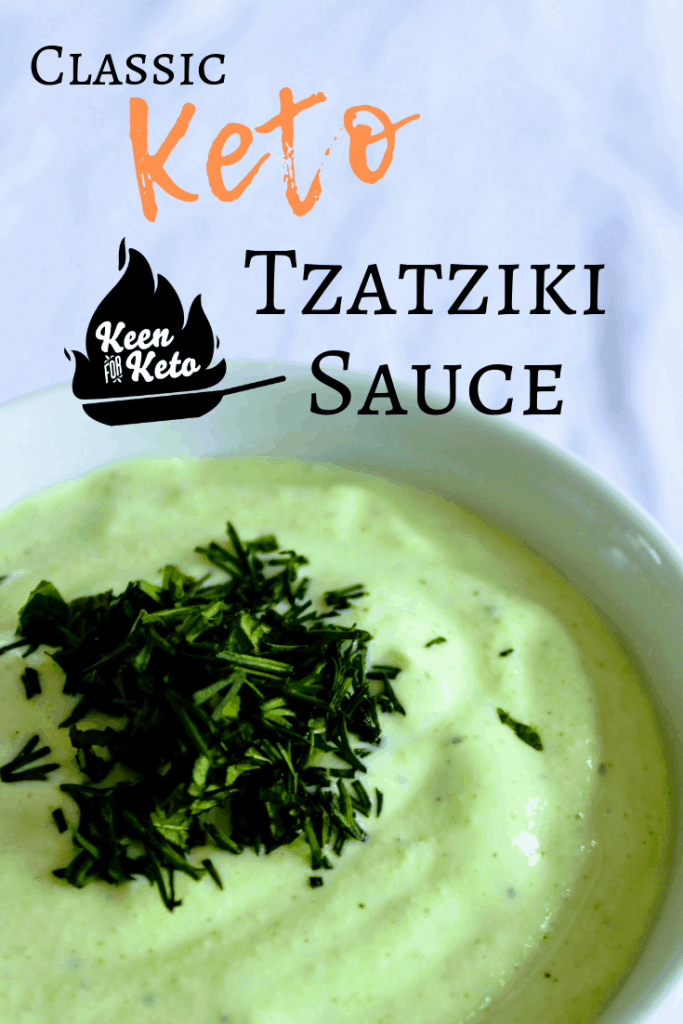 Greek Keto Tzatziki Dip is a low carb take on a classic Mediterranean condiment. Fresh herbs and refreshing cucumber come together with creamy Greek yogurt and fresh lemon juice. Yum! Keen for Keto | keto tzatziki sauce | keto Greek recipe | low carb Greek recipe | keto dip | keto recipes