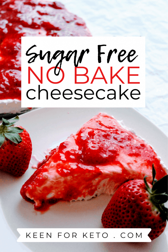 This low carb strawberry cheesecake is always a huge hit! Delicious no bake keto cheesecake recipe with strawberry topping. Keen for Keto | keto dessert | keto cheesecake recipe | keto recipe