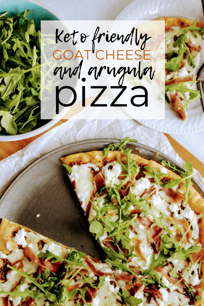 Keto friendly pizza with the best low carb pizza dough and topped with balsamic pizza sauce and prosciutto, goat cheese, and arugula! Keen for keto | grain free pizza crust | keto prosciutto pizza | keto dinner