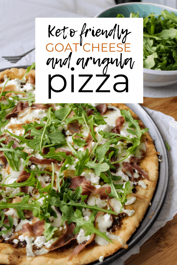 Keto friendly pizza with the best low carb pizza crust and topped with balsamic pizza sauce and prosciutto, goat cheese, and arugula!