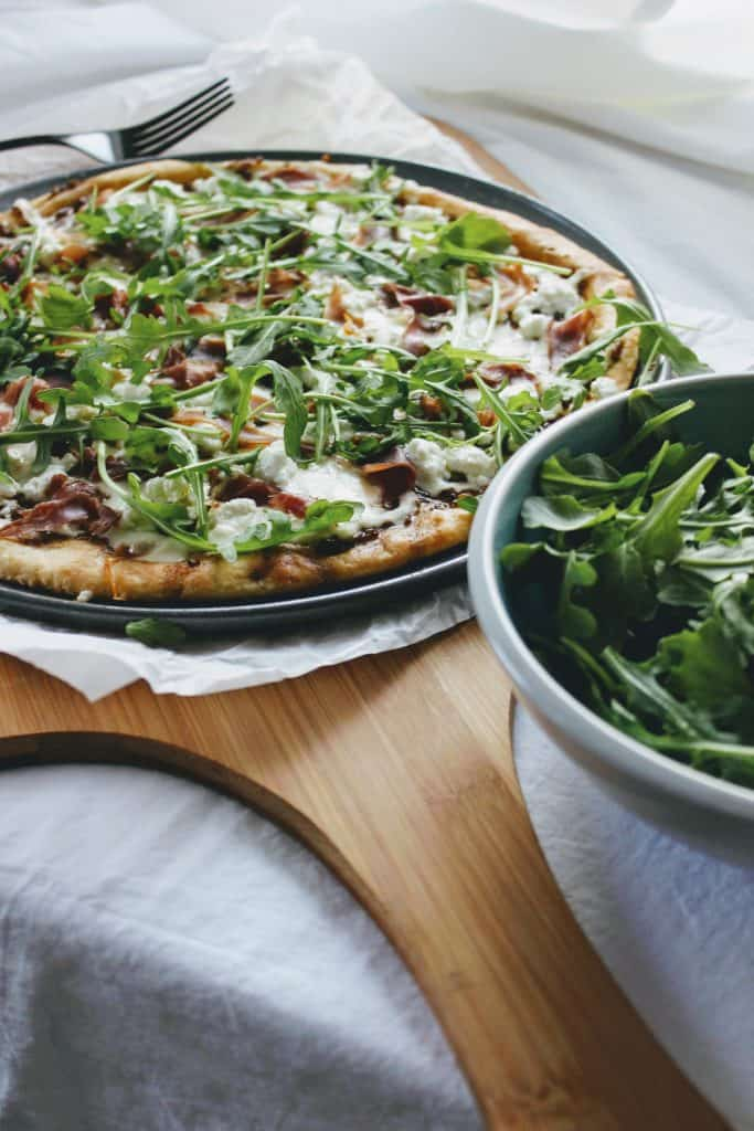 Keto goat cheese pizza with arugula