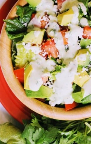 Tomato Cotija Salad with Tomatillo Dressing