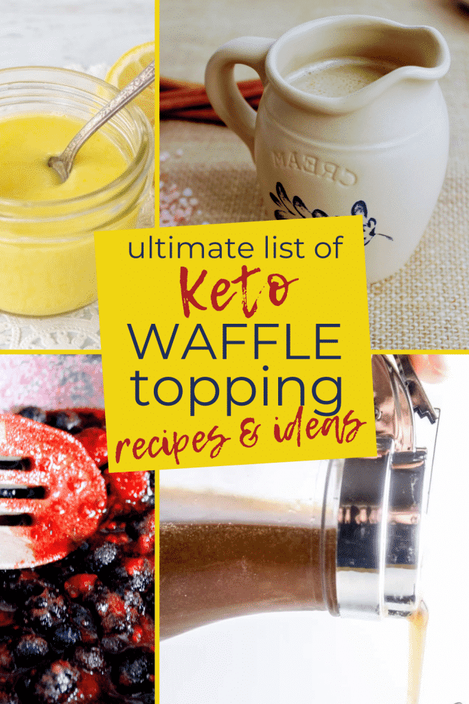 Need ideas for keto waffle toppings? This article has three parts: 1. a list of easy keto waffle topping ideas that don't require a recipe, 2. a list of keto waffle topping recipes and the links to those recipes, and 3. keto waffle (or chaffle) recipe and a few other recipes for using these toppings. Keen for Keto | low carb waffle toppings | keto breakfast | keto chaffle toppings