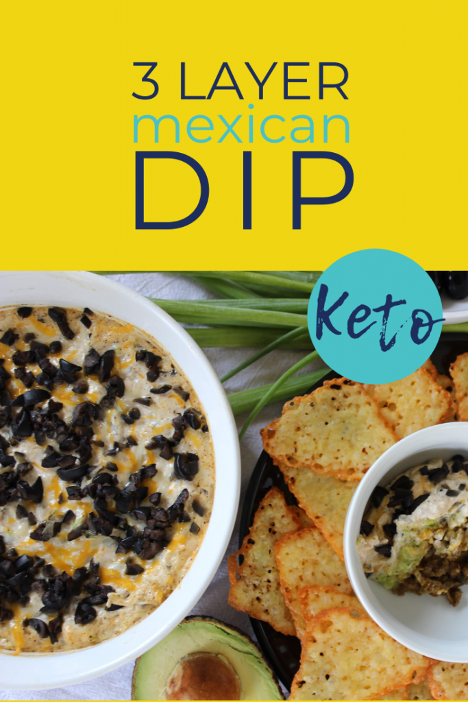 Three amazing layers in this keto baked Mexican dip! If you're looking for a keto taco dip appetizer, look no further! Super easy Mexican dip that's great for low carb and keto diets. keenforketo.com | 3 layer Mexican dip | keto taco dip | keto appetizer | low carb Mexican dip