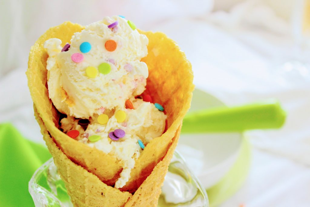 Keto Ice Cream Cones with sprinkles